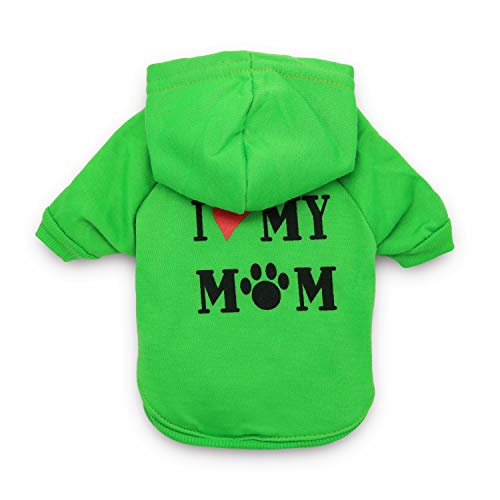 DroolingDog Dog Clothes I Love My Mom Hoodie Pet Puppy Shirts for Small Dogs