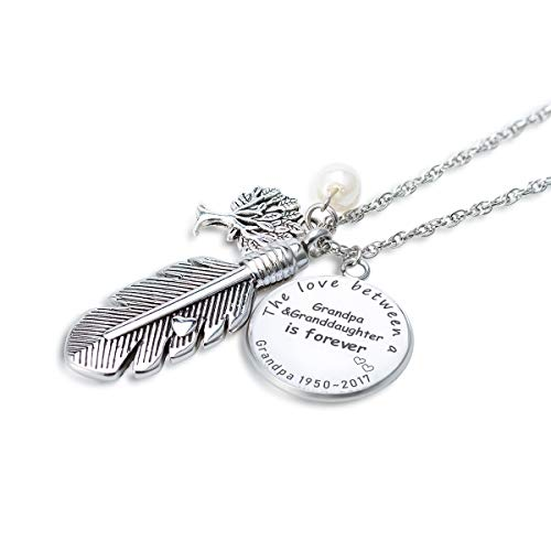 - FASJOY Personalized Feather Cremation Necklace The Love Between Grandpa&Granddaughter is Forever Keepsake Locket