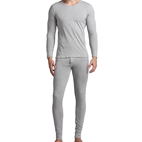 Set Sleeve Long Underwear Cotton (Godsen Men's Cotton Long Sleeve Underwear Set Top & Bottom (L, GW01-GREY))