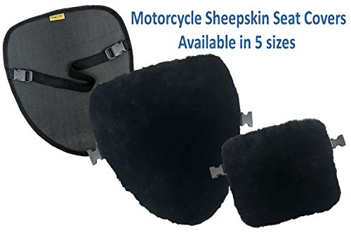 SKWOOSH Sheepskin Motorcycle Seat Cover Pad Natural Plush Genuine Wool for Temperature Control Summer and Winter and Cushioning for Comfort (Medium) ()