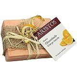 ARISTOS vegane Olivenölseife aus Griechenland mit Orangensaft und Kamillenextrakt für eine empfindliche & unreine Haut (1x 100 g)