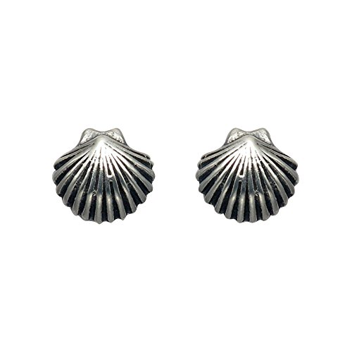 Small Sterling Silver Scallop Shell Stud ()