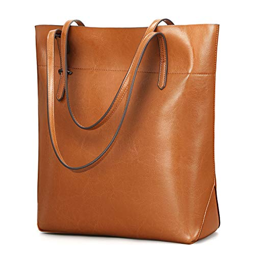 Kattee Vintage Genuine Leather Tote Shoulder Bag With Adjustable Handles (Light Brown) (The Best Leather Bags)