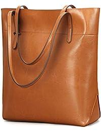 Vintage Genuine Leather Tote Shoulder Bag for Women Satchel Handbag with Top Handles