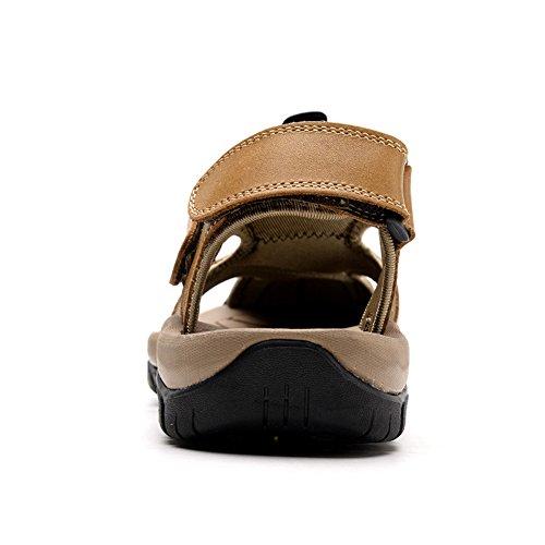 Sandalo Da Uomo In Pelle Con Punta Chiusa Sandali Estivi Da Spiaggia Sandali Con Cinturino In Velcro Color Kaki