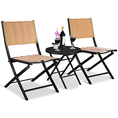 3Pcs Steel Bistro Garden Furniture Set Textilenne Seat Outdoor Patio Deck Folding Round Table Chair with Ebook