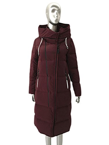 92486 Sublevel Damen Mantel Wintermantel Winterparka Fashion Leisure Hooded Women's Long Down Jacket Burgundy