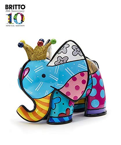 Romero Britto Anniversary Lucky Elephant Design Figurine (Lucky Crown Design)
