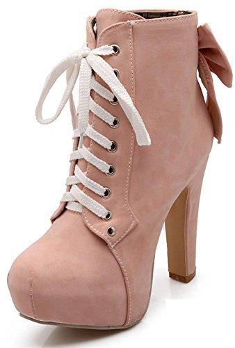 Women's Round Toe Platform High Heels Fashion Ankle Boots Pink - 4