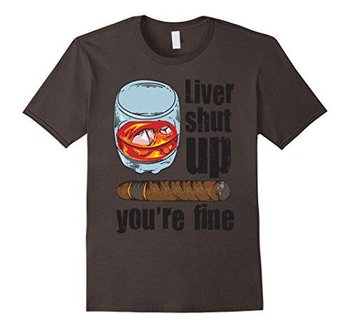 Mens Scotch Drinker & Cigar Smoker Shirt - Ideal Classy Men Gift 2XL Asphalt