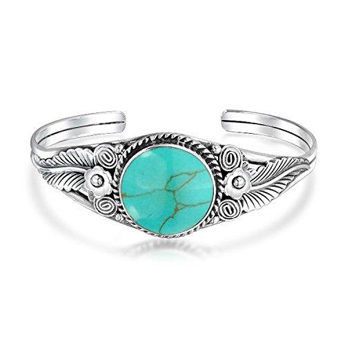 Turquoise Leaf Bracelet - 925 Silver Leaf Flower Synthetic Turquoise Cuff Bracelet
