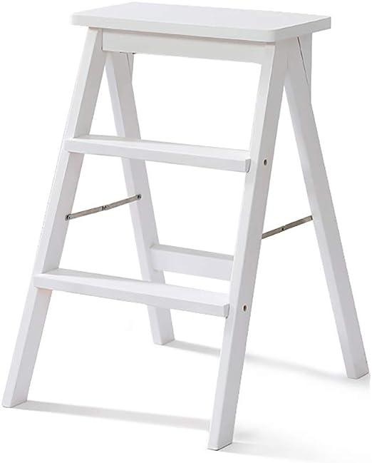 YUEDAI 3 Escalera escalón Taburete de Madera Maciza Silla de la Escalera de casa Simple Moderno Plegable Escalera Taburete, Cocina multifunción Banco Alto Taburete (Color : White): Amazon.es: Hogar