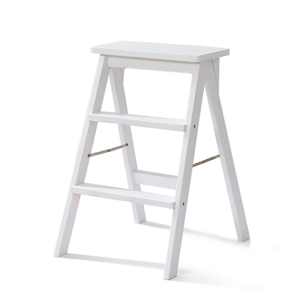 JJJJD 3ステップはしごのスツールソリッドウッド家庭用はしごの椅子シンプルな近代的なポータブル折りたたみはしごのスツール、多機能キッチンハイスツールのベンチ (色 : 白) B07RW4WX5B 白