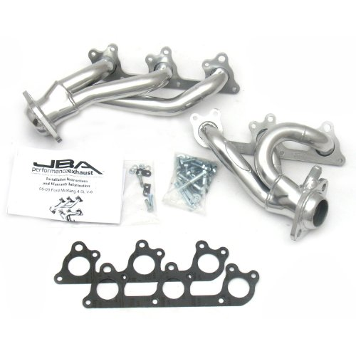 """JBA 1617SJS 1-1/2"""" Shorty Stainless Steel Silver Ceramic Exhaust Header for Mustang V6 05-10"""