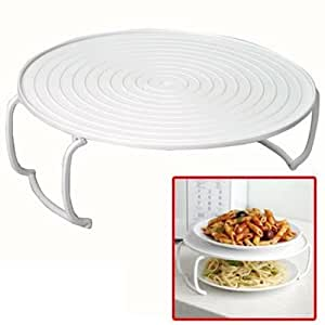jazooli microwave folding round tray double plate dish bowl holder rack cover. Black Bedroom Furniture Sets. Home Design Ideas
