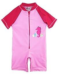 Sweet & Soft Little Girls Seahorse Short Sleeve One Piece Swim Rashguard, Pink Glow, 3T