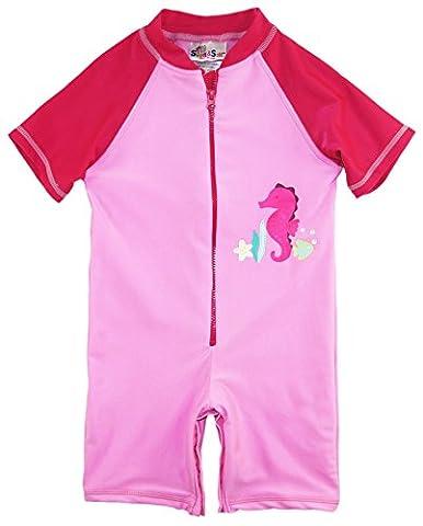 Sweet & Soft Baby Girls Swimwear Animal Print Seahorse Rashguard, Pink, 6 Months - Summer Infant Sweet