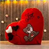 Frantic Huggable Heart Shape Soft Plush Stuffed Cushion Pillow Toy in Red Color (Design 1)
