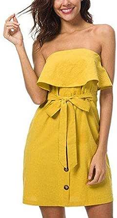Ruffled Bandeau Knot Style Mini Dress for women