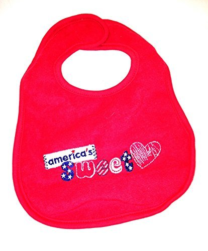 America's Sweet Patriotic Feeding Bib by Frenchie Mini Couture (Couture Bib)