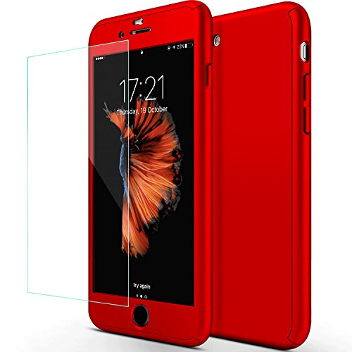 sxxissky iPhone 7 Plus Case, Ultra-Thin Full Body Coverage Hard Hybrid Plastic with [Tempered Glass Screen Protector] Protective Case Cover and Skin for Apple iPhone 7 Plus 5.5Inch-2016(Red)