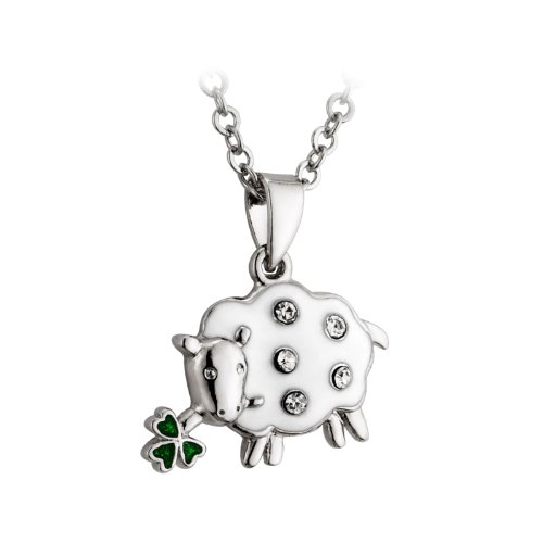 Irish Sheep Necklace Rhodium Plating, Enamel & Crystal