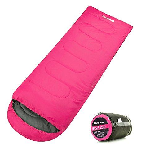 Adult Sleeping Bag (KingCamp Envelope Sleeping Bag 4 Season Lightweight Comfort with Compression Sack Camping Backpack 8.6F/-13C (Pink))