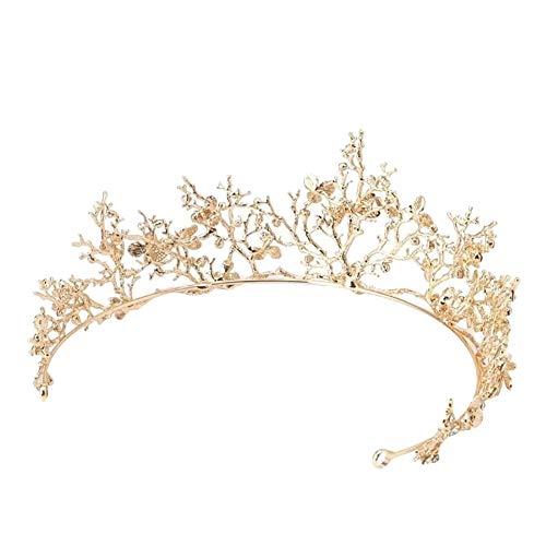 lightclub Baroque Branch Bridal Crown Rhinestone Tiara Dragonfly Wedding Hair Accessory Golden ()