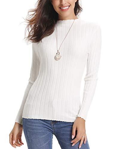 Abollria Women's Long Sleeve Solid Lightweight Soft Knit Mock Turtleneck Sweater Tops Pullover - Turtleneck Sweater Coat