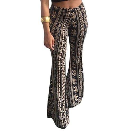 Fulok Womens High Waist Casual Bell Bottom Floral Print Wide Leg Pant