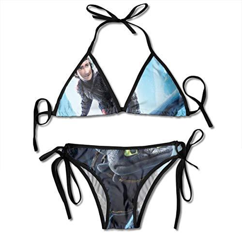 Amazing Dragon T-Rainer Women's Triangle Bikini Athletic Two-Piece Underwaist Adjustable Strap Sexy Swimwear Black]()
