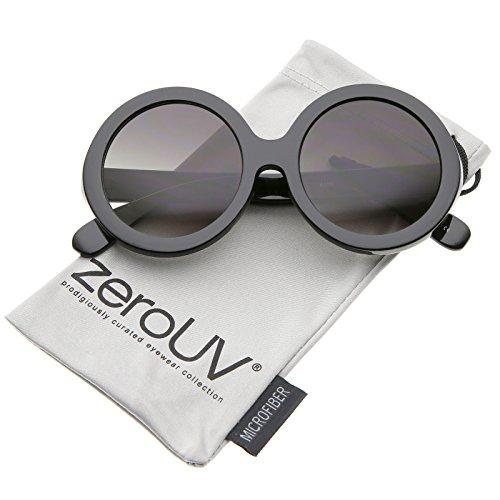 zeroUV - Retro Chunky Frame Tinted Lens Oversize Round Sunglasses 53mm (Black / - Sunglasses Frame Round Oversized