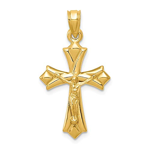 Real 14kt Yellow Gold Reversible Crucifix/Cross Pendant ()