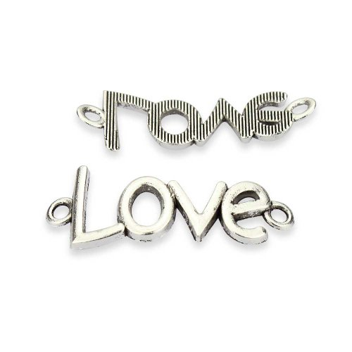 Love Charm Links (LolliBeads (TM) Vintage Antiqued Silver Tone Adjustable Rope Bracelet Charm Connector Link Sideways LOVE Letters - 20 Pcs)