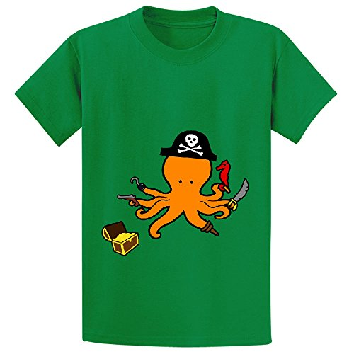 Price comparison product image octopus pirate cute Girls Crew Neck Customized T-shirt Green