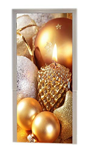 A.Monamour Golden Champagne Color Glittered Stars Balls Candles Christmas Holiday Ornaments 3D Print Eco-Friendly Vinyl Room Door Decals Wallpaper Wall Murals Removable Stickers Posters DIY Art Decors