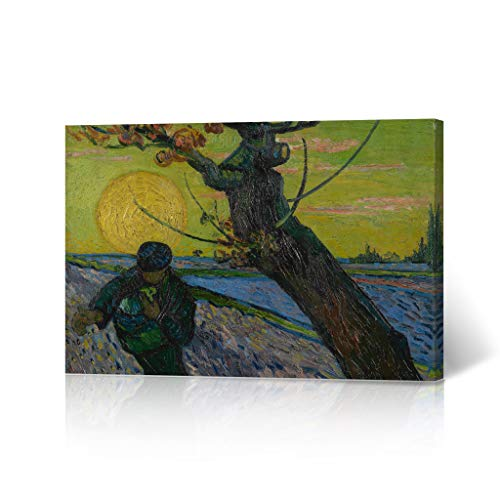 HB Art Design The Sower with Setting Sun, 1888 Vincent Van Gogh Canvas Print Wall Art Living Room Office Bedroom Decor Artwork Made in The USA 30x40 (The Sower With Setting Sun Van Gogh)