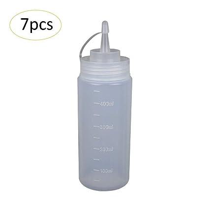 7 Piezas Botella de Apretar 450ML Dispensador de Condimentos Botella Biberón para Cocina Aceitera