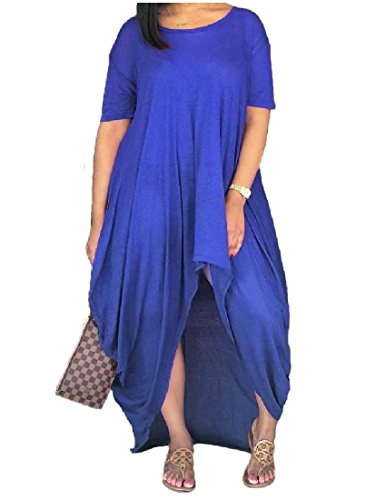 Solid Dress Women Fit Fashion Long Relaxed Blue Coolred Casual Unbalanced Tunic qCwZW71