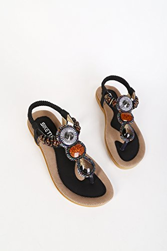 D2c Beauty Dames Bohemien Strass String Platte Sandalen Zwart-2
