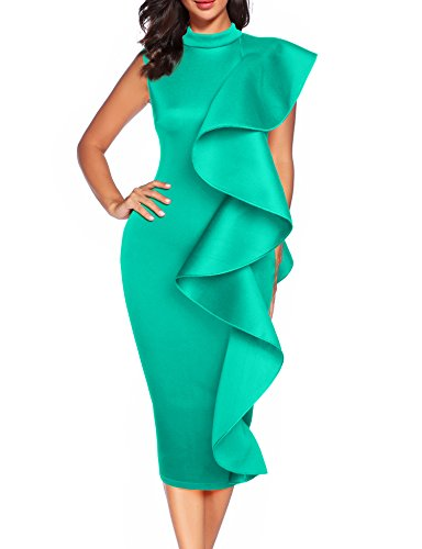 Women's Clubwear Dress Sleeveless Ruffles Bodycon Cocktail Party Dress (Turquoise, S)