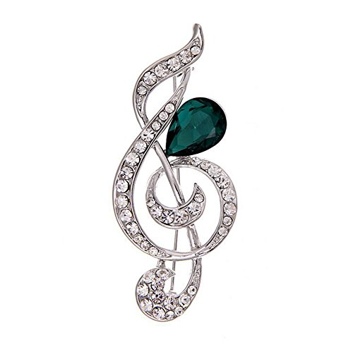 Hosaire Brooch Pin Women's Musical Note Breastpin with Rhinestones Crystal for Music Lover