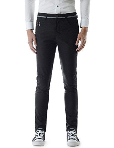 TheLees TLP202 Slim Fit Flat Front Button Decoration Pocket Patched Cotton Pants BLACK 33W/31L(Tag size XL) - 5 Pocket Washed Corduroy Pants