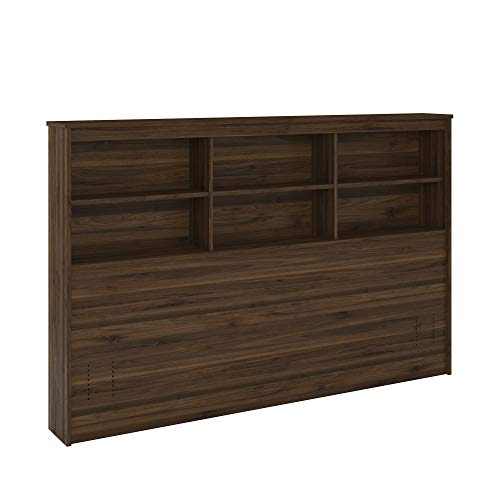 REALROOMS Lacey Full/Queen Storage Headboard, Walnut
