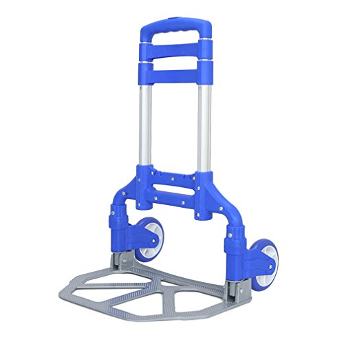 Youghalwell Folding Hand Truck,170lbs Heavy Duty Luggage Cart, Aluminum Portable Folding Hand Cart and Dolly with Wheels (Blue)