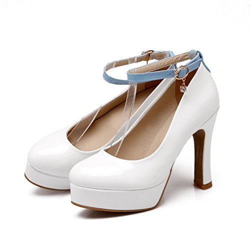 Allhqfashion Femmes Boucle Ronde Fermé Orteils Talons Hauts Assortiment Couleur Pompes-chaussures Blanc