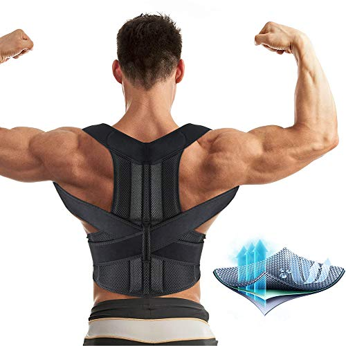 Aptoco Back Brace Posture Corrector for Women and Men Fully Adjustable Support Brace Improves Posture and Provides Lumbar Support for Lower and Upper Back Pain|Size XL (41.3-44.4'') Waist ()