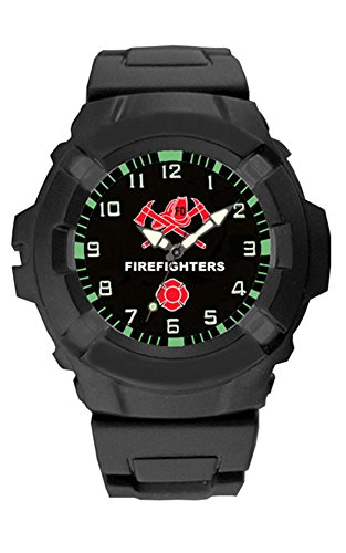 Aqua Force Firefighters Logo 47mm Diameter Quartz Watch, Black with Black Face