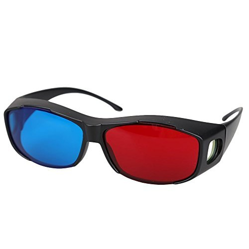 3D Glasses - TOOGOO(R) 5pairs Red+Blue Plasma TV Movie Dimensional Anaglyph 3D Vision Glasses (Anaglyph Frame), Black
