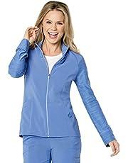 Landau Womens 3 Pocket, Modern Tailored Fit Mock Neck Medical Jacket 9876